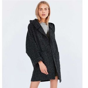 BDG Black & Gray Relaxed Hooded Coat Size Large